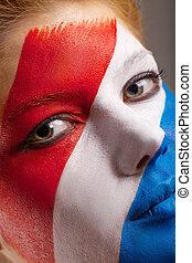 nederländerna, målad, uppe, ansikte, flagga, kvinna, nära, art.