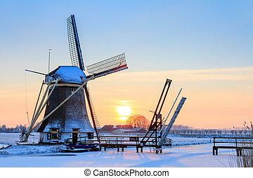 nederländsk, väderkvarn, in, vinter