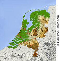nederland, gearceerd, verlichting kaart