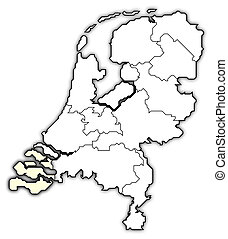 nederland, kaart, aangepunt, zeeland