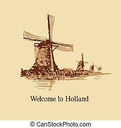nederland, ouderwetse , illustratie, hand, watercolor, achtergrond., getrokken, windmill.