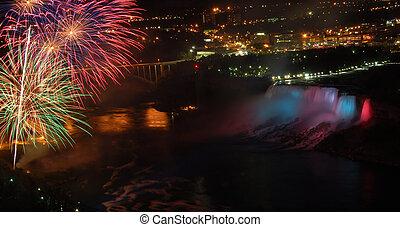 nedgångar, fireworks, över, niagara