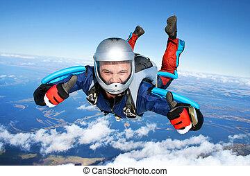nedgångar, genom, skydiver, luft