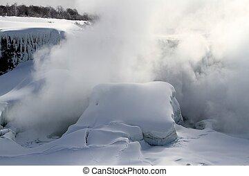 nedgångar, niagara, vinter