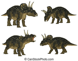 Nedoceratops Pack - Illustration of a pack of four (4)...