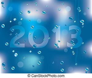 nedves, felszín, év, új, üzenet, 2013, boldog