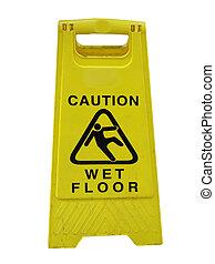 nedves, figyelmeztet, emelet