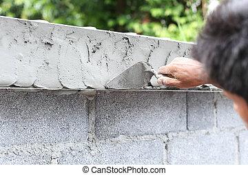 nedves, kőműveskanál, fal, beton, fiú, használ, kéz