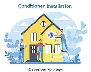 nedvességtartalom szabályozás, instalation, rendbehozás, levegő, szolgáltatás, concept., repairman