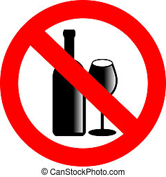 nee, alcohol, vector, meldingsbord