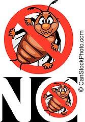 nee, bugs., stoppen, insect, teken., pictogram, voor,...