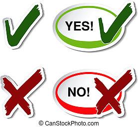nee, controleren, knoop, -, mark, vector, ja, symbool