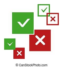 nee, iconen, positief, negatief, vector, ja