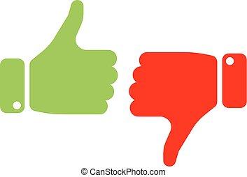 nee, informatietechnologie, of, liefde, zoals, winnen, maken, informatietechnologie, illustratie, op, keuze, vector, groene, duimen, stem, loss., ja, haat, afkeer, rood, pictogram