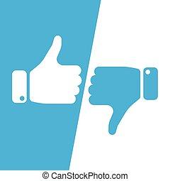 nee, liefde, winnen, informatietechnologie, duimen, stem, ja, haat, blauwe , inverse, fields., maken, keuze, witte , informatietechnologie, loss., illustratie, afkeer, pictogram, zoals, op, vector, of