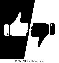 nee, liefde, winnen, informatietechnologie, duimen, stem, ja, haat, inverse, fields., maken, keuze, black , witte , informatietechnologie, loss., illustratie, afkeer, pictogram, zoals, op, vector, of