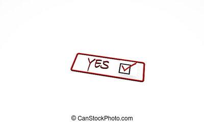 nee, postzegel, positief, negatief, verworpen, zeehondje, ja...
