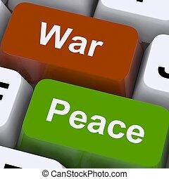 nee, sleutels, vrede, of, conflict, oorlog, agressie, ...