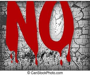 nee, verbrijzelde, woord, op, bloedig, achtergrond