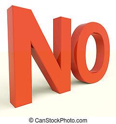 nee, woord, het tonen, ontkenning, paniek, en, negativiteit