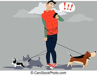 Need a dog walker? - Man, tangled in multiple dog leashes,...