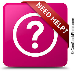 Need help (question icon) pink square button red ribbon in corner