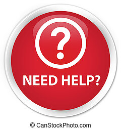 Need help (question icon) premium red round button