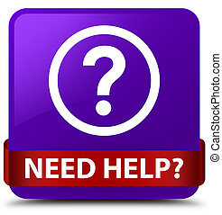 Need help (question icon) purple square button red ribbon in middle