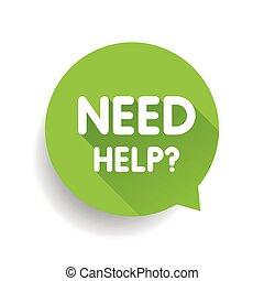 Need help? (question icon) Speech bubble vector green