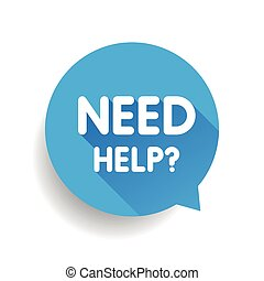 Need help? (question icon) Speech bubble vector blue