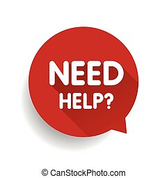 Need help? (question icon) Speech bubble vector red