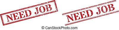 NEED JOB Textured Scratched Stamp Watermarks with Double Rectangle Frame