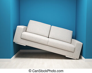 need more space - 3d image of leather sofa in narrow space