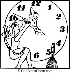 Girl trying to stop clock