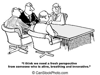 Cartoon of business people who need alive, breathing, innovative, new team member.