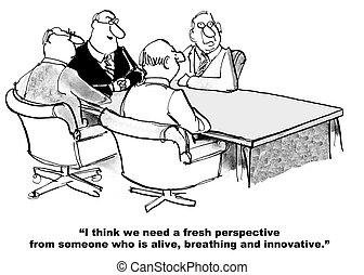 Need New Team Member - Cartoon of business people who need...