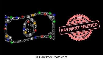 needed, pagamento, dólar, selo, textured, nota, malha, waving, lightspots