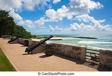 Needham's Point is a medieval fortification with cannons on ...