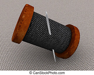 Needle and a thread. 3d