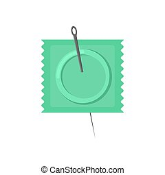 Needle and condom. Condom is pierced. Vector illustration