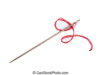 Closeup of needle with red thread on white background