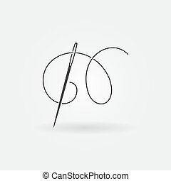 Needle and thread vector modern icon