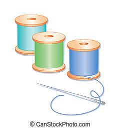 Blue, aqua and green spools of thread, sewing needle, white background.