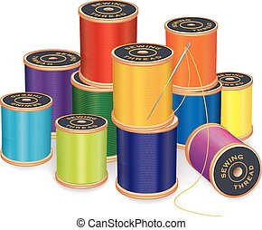 Silver needle, stack of 12 spools of thread in vivid colors, isolated on white background for sewing, tailoring, quilting, crafts, needlework, do it yourself projects. EPS8 compatible.