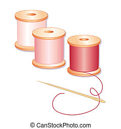 Red, rose and pink spools of thread, sewing needle, white background.