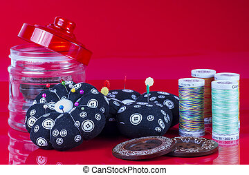 Needle Case, Spools , Buttons on Re
