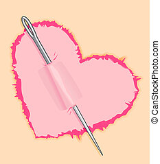Needle in pink heart for love concept design