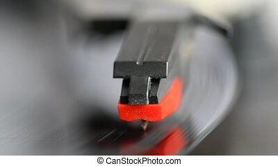 record player - Needle on a spinning record player