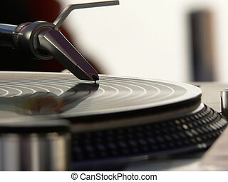 Needle on the record - A needle on the Spinning record