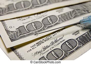 needle over US dollars
